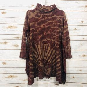 Scared threads turtle neck long sleeve tunic dress